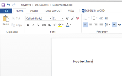 online office editor for create new word file