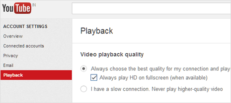 Enable HD video playback setting in youtube account