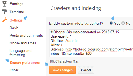 blogger dashboard setting for xml sitemap robots.txt