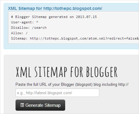 online tool for creating full blogger blog sitemap