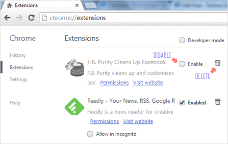 delete, remove extensions in google chrome