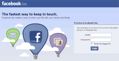 facebook-lite-login-page