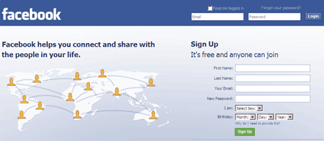 Official Facebook Login page