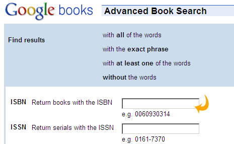 Book search by isbn number lookup