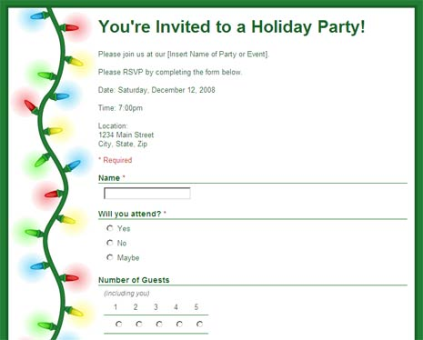 Party RSVP Form To Collect Replies Google Docs Template