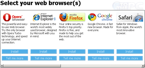 Online browser ballot to select web browser