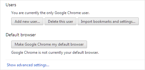 google chrome as default browser