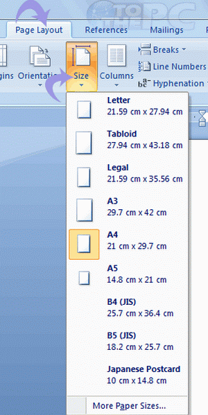 change paper size of microsoft word document