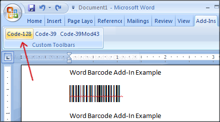 After selection, click button of the desired barcode type to ...