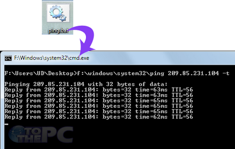 Create batch file for ping Command