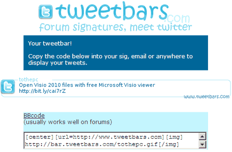 Display latest Twitter tweet as forum signature