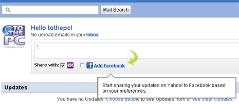 Add & link Facebook account with Yahoo Mail