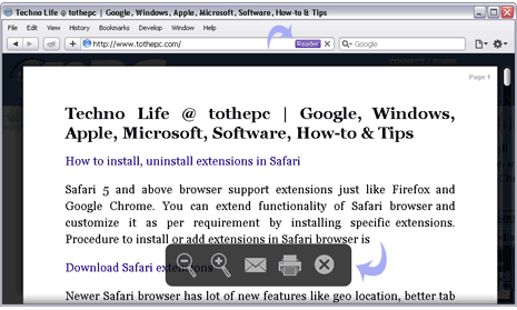 View only webpage text with Reader in Safari