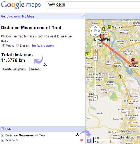 Measure distance on Google Maps