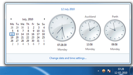 Show multiple clocks on Windows 7 taskbar