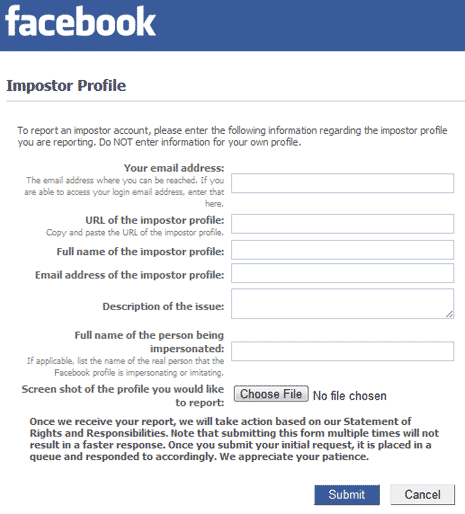 How to report imposter, fake Facebook profile