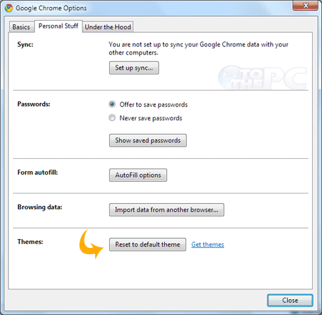 restore original default theme in google chrome