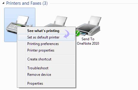 Change default Printer on Windows 7