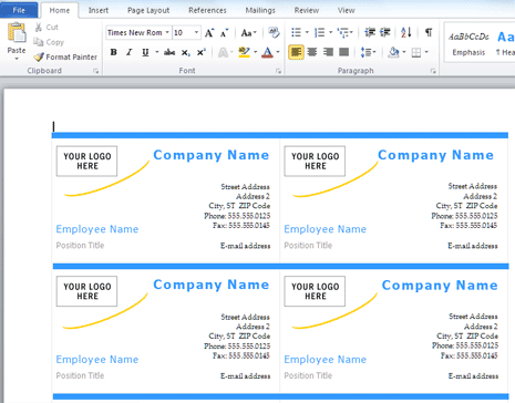 Create print business cards in ms word 6 wajeb Choice Image