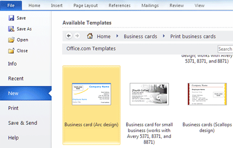 create print business cards in ms word
