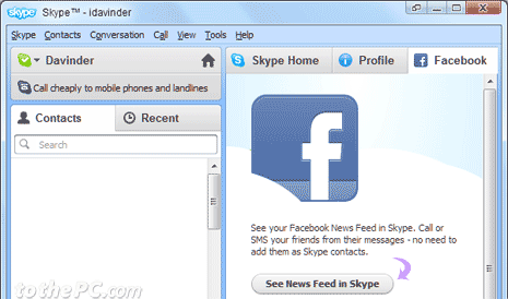 Add / remove Facebook news feed in Skype