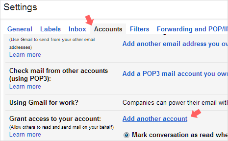Gmail delegation feature in Account Settings