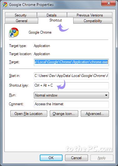 of keyboard shortcut keys