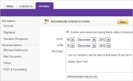 Send Out of Office & Vacation auto reply in Gmail & Yahoo