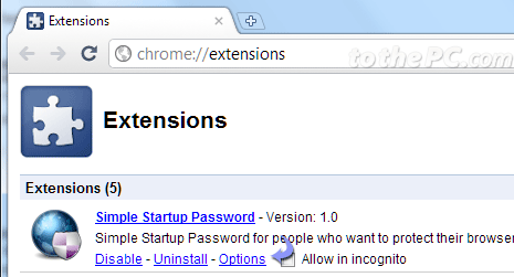 disable chrome extensions on startup
