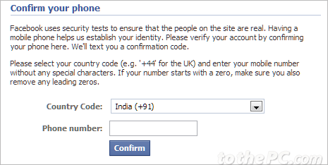 Facebook account verification mobile phone number