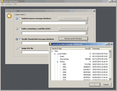 How to open dbx files