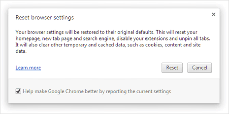 reset google chrome to original default button