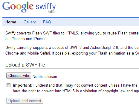 Convert SWF flash files to HTML5 format