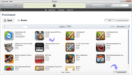 Re-download already purchased iPad & iPhone apps in iTunes
