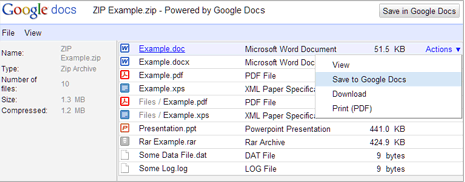 Open ZIP & RAR files online in Gmail & Google Docs