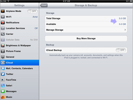 Check iCloud storage & backup space on iPad