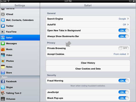 How to activate private browsing on ipad