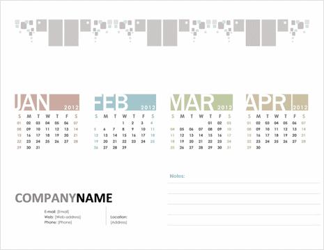 Download free 2012 Calendar Word Excel Powerpoint templates – Quarterly Calendar Template