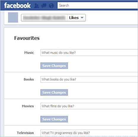edit favorites like music movies on new facebook timeline profile