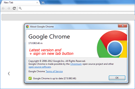 restore sign on new tab button of google chrome in chrome settings