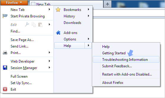 Reset Firefox to default state to fix problems