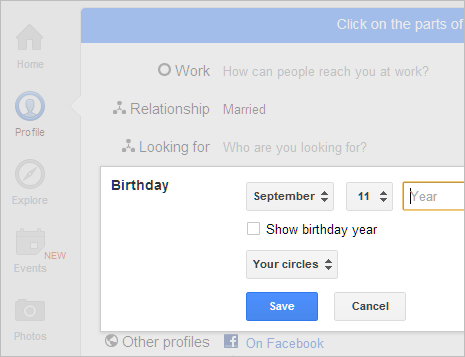 Show Or Hide Birthday Date On Google Profile