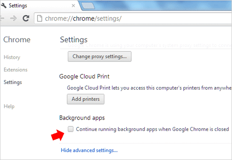 View & stop Background Apps in Google Chrome