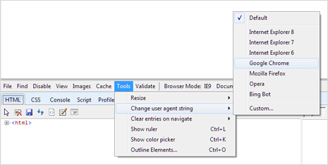 Change browser user agent in IE, Chrome, Firefox