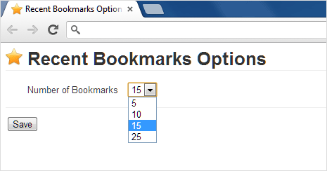recent bookmarks extension options