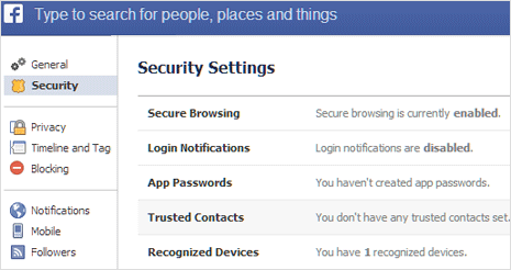 Trusted Contacts feature in Facebook account settings