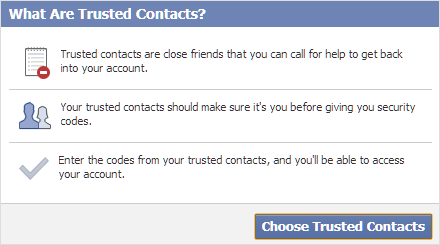 What is trusted contacts on Facebook