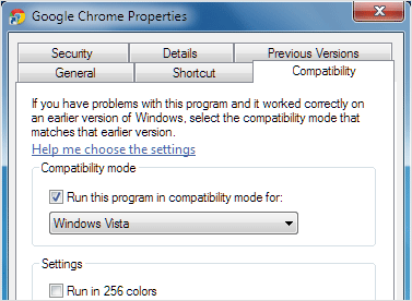 run chrome in windows 7 compatibility mode