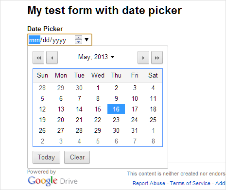 preview date picker in google forms