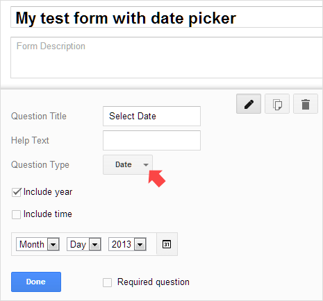 add date picker field to google forms